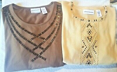 Women's Alfred Dunner Petite Large & Large Brown Beaded Short Sleeve Embroidery