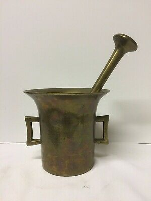 Early Heavy Antique Brass Apothecary Mortar & Pestle ~ BC6
