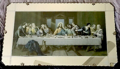 'THE LAST SUPPER' MIRRORED REPRODUCTION BY H. ZABATERI 1900's Mounted On Wood