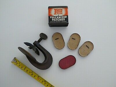 Vintage Brass Vulcanizer Clamp Plus Tin with Patches