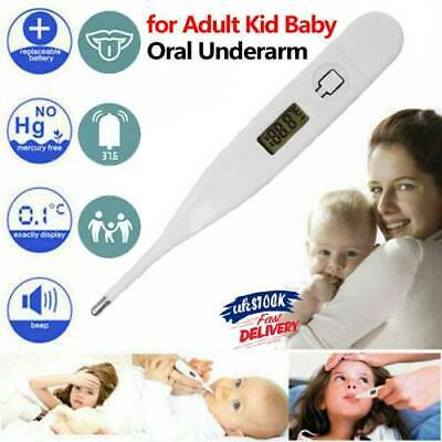 LCD DIGITAL AUDIBLE THERMOMETER Temperature Fever Adults Kids Baby Underarm Oral