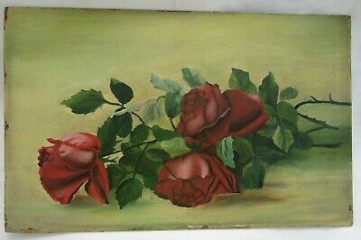 Victorian Antique Oil Painting Folk Art Still Life Floral Country Primitive