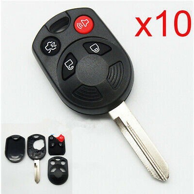 LOT 10 Replace Remote Key Shell for Ford Lincoln Mercury Uncut Fob Case 4 Button