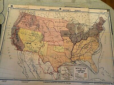 Vintage 1926 Denoyer-Geppert Map A18 - Mexican War And Compromise of 1850