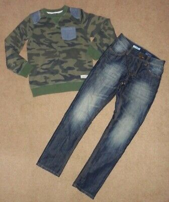 Boys Stylish Jeans & Camouflage Sweatshirt Age 10-11 Years - Next & George