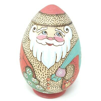 """Russian Hand Carved & Painted Wood Egg Shape Santa Detailed Signed Pyrography 4"""""""