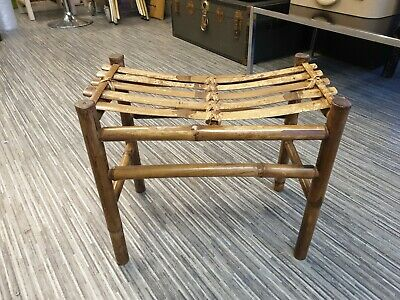 Stunning Vintage French Mid Century Bamboo & Rattan Stool Superb Example