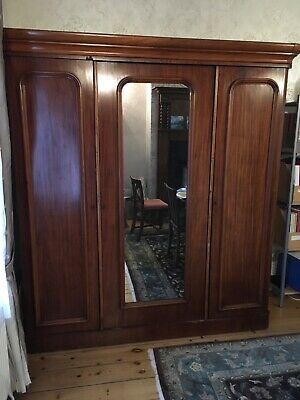 Antique Edwardian Wardrobe Mirrored Triple Armoire Large.