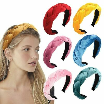 Women Soft Headband Alice Band Top Knot Fashion plain Headband Twist Hairband