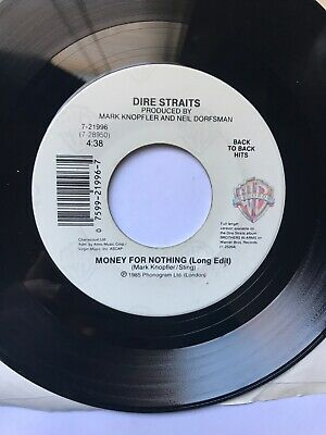 """Dire Straits - Money For Nothing / Twisting By The Pool VG 7"""" 1985 45 RPM"""
