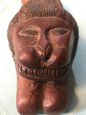 VintageFOLK ART  Wooden Lion Hand carved 11.5 inches long 4 inches tall