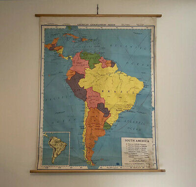 Vintage 1963 South America School Map