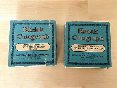 Lot of 2 Vintage Kodak Cinegraph Films Charley Chase 4547 & 4560 in Original Box