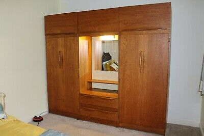 Vintage retro Teak 2 x Double Wardrobes & Chest 2 Drawers Mirror with light