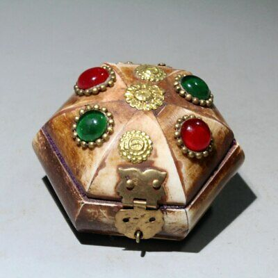 Collectable China Handwork Old Copper Mosaic Agate Hand-Carved Noble Jewelry Box