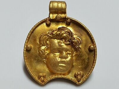 Roman Gold Lunar Pendant with Cupid Face  1st- 3rd  century AD