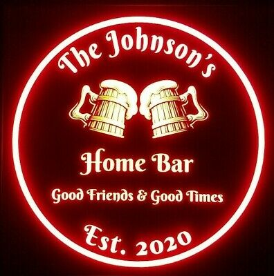 Custom Beer LED Sign Personalized, Home bar pub Sign, Lighted Sign, man cave