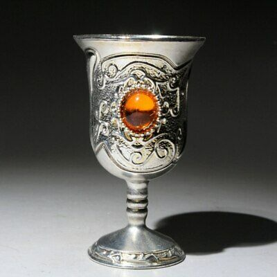 Collectable China Handwork Old Tibet Silver Mosaic Agate Delicate Rare Royal Cup