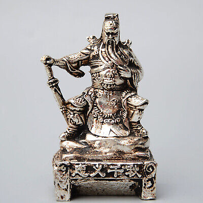 Collect China Old Miao Silver Handwork Carve Duke Guan Auspicious Unique Statue