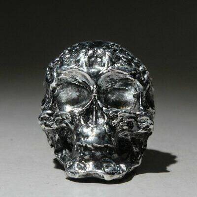 Collectable China Miao Silver Hand-Carved Skeleton Head Unique Auspicious Statue