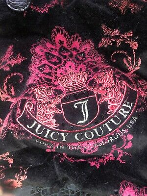 JUICY COUTURE BLACK VELVET PURSE WITH Leather Handle And Bottom Rhinestones Pink