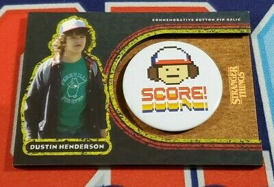 Topps Stranger Things Welcome to the Upside Down #8D Dustin Henderson Button /99
