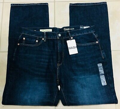 Gap Mens Relaxed Straight Leg $59.95 Dark Blue Jeans size 33x34 NEW NWT