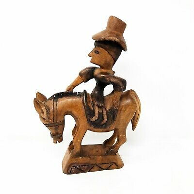 Vintage Primitive Wood Carved Statue Man With Hat Riding Burro / Donkey