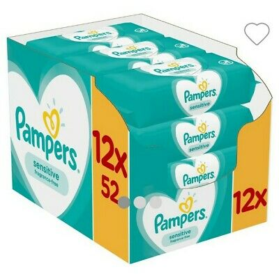 Pampers Sensitive Baby wipes, 12x52= 624wipes