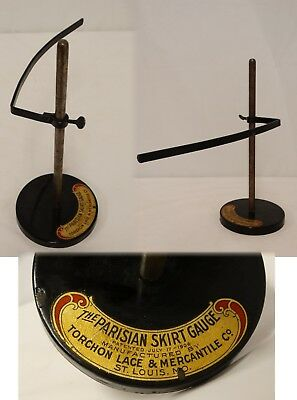 EDWARDIAN 1906 PARISIAN SKIRT GAUGE Sewing Hem Measure Cast Iron Metal RARE