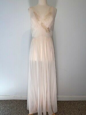 Vtg 1960s Vanity Fair Sleeveless Lace Maxi Nightgown Night Dress Gown 38