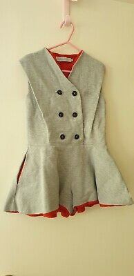 Christian Dior girls playsuit, size 6. Grey with red lining, button up.