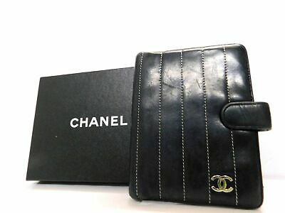 CHANEL Black Leather Agenda Diary Card ID Pass Case Holder Wallet Auth