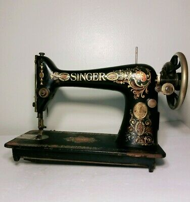 Antique 1912 SINGER RED EYE TREADLE Sewing Machine Serial # G3547825 nice!