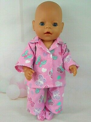 """Dolls clothes for~17"""" BABY BORN DOLL~BUTTERFLIES & HEARTS PYJAMAS~BED SOCKS"""