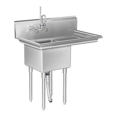 Commercial Stainless Steel Sink Single Basin Wash Bowl And Draining Drying Area