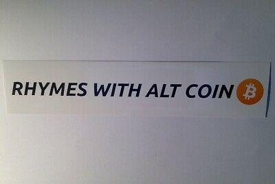 Rhymes With Alt Coin - Bitcoin Decal Crypto Currency Alt Coin Split Back