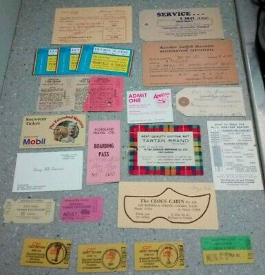 Vintage Australian Ephemera Bus Train Tickets Fishing Net Tag Boat Registration