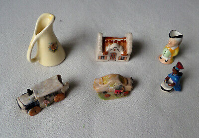 Miniature Ceramic / Porcelain / Clay Figurines - Toby Jug, House, Cars and More