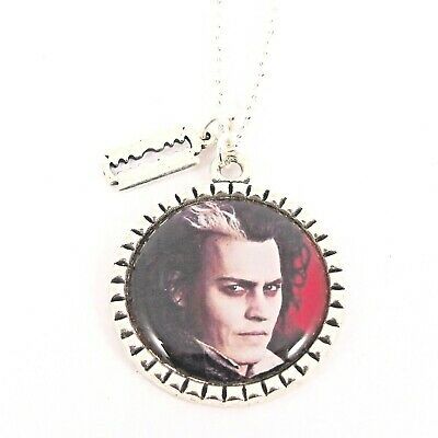 Johnny Depp Large Antique Silver Pendant Necklace Willy Wonka Chocolate Factory