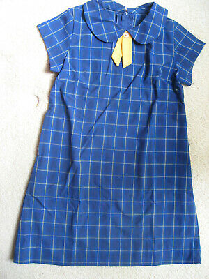 Girls Summer Royal Blue Check Dress Yellow Tie School Uniform size 8 New