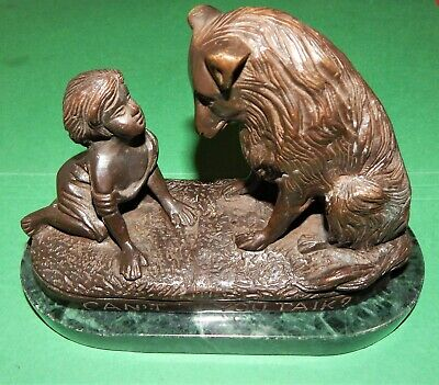"""Vintage Signed G. Ferrad Bronze Sculpture w/Marble Stand Titled """"Can't You Talk"""""""