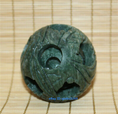 Collection Chinese Exquisite hand-carved Natural Jade lucky Transfer ball statue