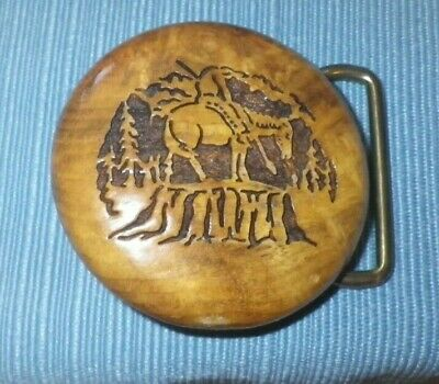 Myrtle Wood w/ solid brass carved belt buckle - The Last Ride