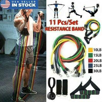 11X Resistance Band Set Yoga Pilates Abs Exercise Fitness Tube Workout Bands US,