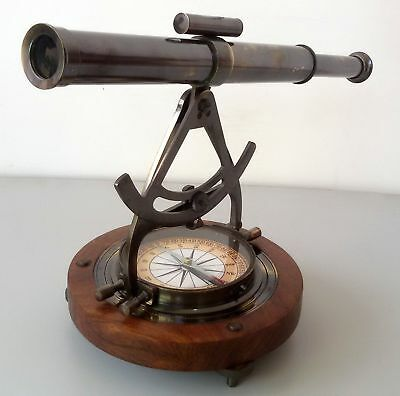 Antique Brass Maritime Alidade Theodolite Compass  Nautical Reproduction Gift