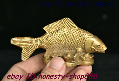 Collect Chinese Copper Bronze Feng shui Animal Fish Yuan Bao Coins Wealth Statue