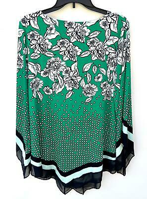 NEW Alfani Women's Plus V-Hem Angle Sleeve Printed Top Green Size 1X