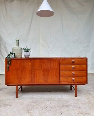 Vtg Mid Century Teak Danish Sideboard With Key Scandinavian Retro mcm  #296