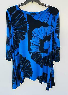 NEW Alfani Women's Plus 3/4 Sleeve Floral Print Tunic Top Black Blue Size 3X
